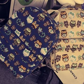 PEAPIX3 Cats Korean Travel Casual Owl Canvas Backpack = 4887711172