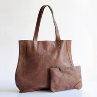 Special custom combo - Brown leather tote and matching pouch, Handcrafted Leather bag, Leather handbags, Leather bag,