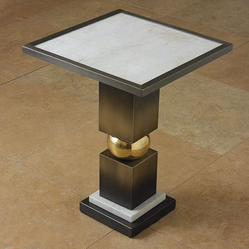 Global Views Squeeze Side Table-Bronze w/White Marble Top - Global Views 9-92224