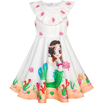 Sunny Fashion Girls Dress Mermaid Cartoon Princess Ruffle Collar Party Dress 2018 Summer Wedding Dresses Clothes Size 2-6