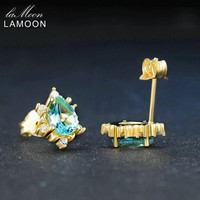 LAMOON 5x7mm 2ct 100% Natural Pear Cut Blue Apatite 925 sterling silver jewelry 14K Yellow Gold Plated Stud Earring S925 LMEI048