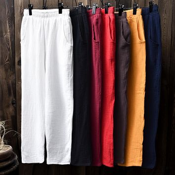2018 summer women's casual trousers cotton linen all-match women's ankle length straight pants 7 colors pantalones mujer