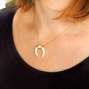 Tusk Double Horn Necklace, White Horn Necklace, Moon Necklace, Crescent Necklace, Gold moon Necklace, Real horn necklace 493