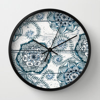 Navy Blue Floral Doodles on Wood Wall Clock by Micklyn