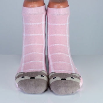 Raccoon Socks Pink Socks White Striped Animal Socks Cute Socks Girls Socks Women Socks Funny Socks Ankle Socks Animal Socks Cute Fun Socks