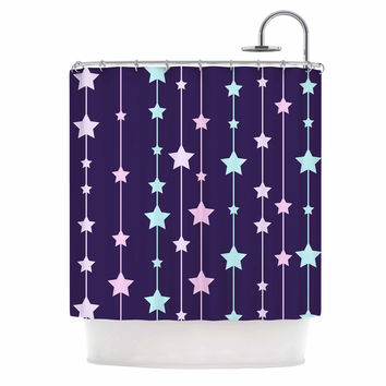 "NL Designs ""Twinkle Twinkle LIttle Star"" Purple Pastel Shower Curtain"