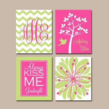 Girl Tree Nursery Wall Art, CANVAS or Prints, Hot Pink Lime, Girl Monogram Art, Flower Tree Bird, Kiss Me Goodnight Quote, Set of 4 Pictures