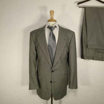 Vintage Mens suit, vintage clothing 80's by Mark Shale Two Piece Two Button Classic Houndstooth 42