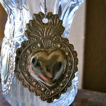 """Med. Silver SACRED HEART Intricate Milagro Earrings- Perfect gift for the one you love- 1.5"""""""