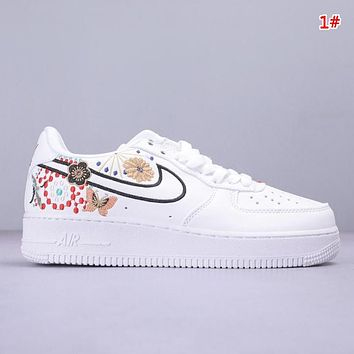 NIKE Air Force 1 Low & Off White New fashion embroidery floral butterfly couple shoes 1#