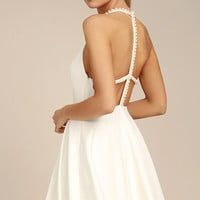 Adore You White Pearl Skater Dress