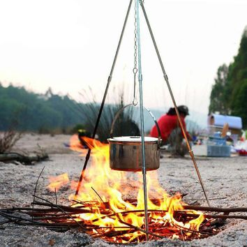 Outdoor Camping Picnic Cooking Tripod Hanging Pot Durable Portable Campfire Picnic Pot Cast Iron Fire Grill Hanging Tripod