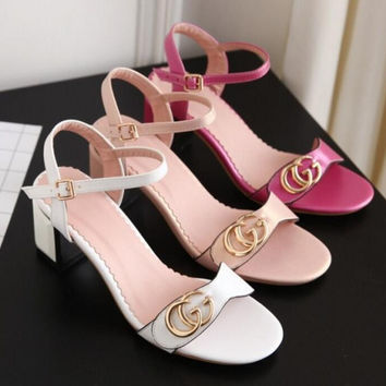 GUCCI Buckle Fashion women thick heels open-toed sandals shoes white