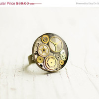 ON SALE Steampunk Ring, Adjustable Ring, Stopped Time Ring, Old Watch Ring, Resin, FREE shipping