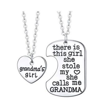 "2PC Charm Gift Set Daddy's Little Girl ""There is this girl she stole my heart she calls me DADDY"" Necklace"