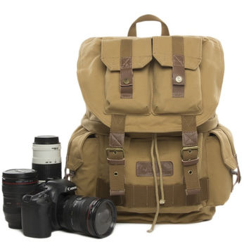 Waterproof Vintage Backpack DSLR Camera Bag Cowhide Canvas Backpack Insert Bag F2001 Yellow