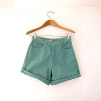 STOREWIDE SALE...Vintage 80s teal green jean shorts. high waisted shorts. roll up shorts.