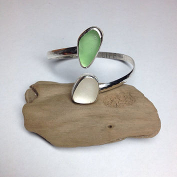 Soft Pastel Lime Green & White Sea Glass Stamped Mermaid Cuff Bracelet
