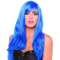 Dark Blue Solid Color Wavy Burlesque Bangs Wig