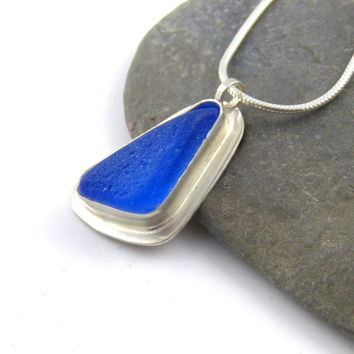 Beautiful Cobalt Blue Sea Glass Pendant Necklace PAIGE