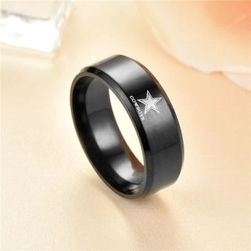 New Design Black Dallas Cowboy Rugby Team Black Blue 316 Stainless Steel Men Ring Jewelry Champion  mourning ring DH-050