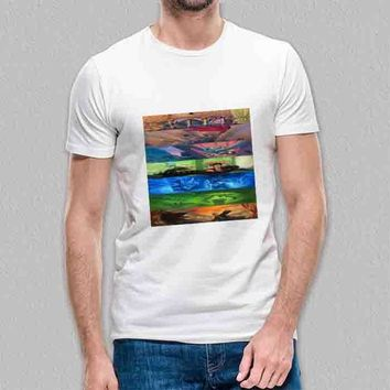 Custom Gildan Men's T-Shirt Harry Potter Illustration Books Cover Collage