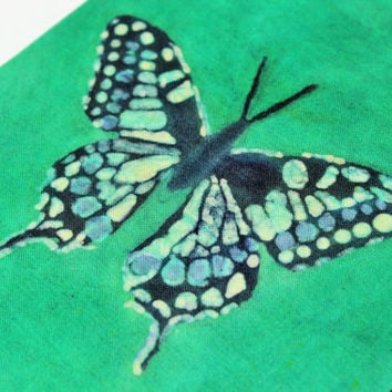 Butterfly, Large notebook, batik fabric journal, diary, sketchbook, album, guest book, old paper