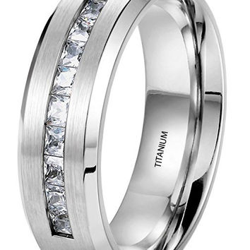 8MM Titanium Ring Wedding Band Brushed Top Channel Set Princess Cut CZ | FREE ENGRAVING