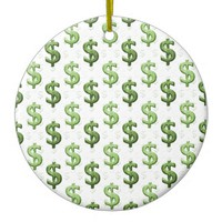 Dollar Sign Pattern Ceramic Ornament