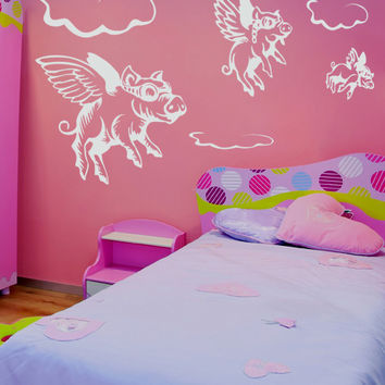 Vinyl Wall Decal Sticker Flying Pigs #GFoster130
