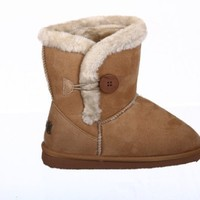 Single Button Fur Lined Ankle Snow Boots Camel:Amazon:Shoes