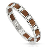 Scalloped Wood Pieces in Stainless Steel Frame Men Bracelet