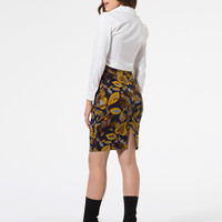 Yellow Floral Leaves And Monkey Print Pencil Skirt