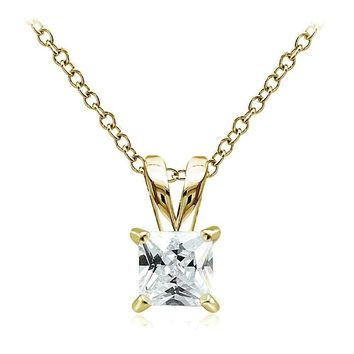 Gold Tone on Sterling Silver 1.25ct Cubic Zirconia 6mm Square Solitaire Necklace