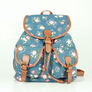 LMFON1O Day First Blue Flower Cute Large College Backpacks for School Bag Canvas Daypack Travel Bag