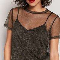 Sheer Metallic Knit Tee