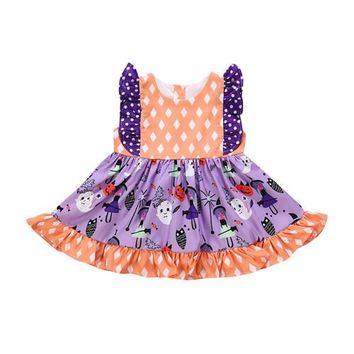 Toddler Infant Baby Girl Sleeveless Halloween Dress Ghost Dot Printed Summer Cotton Kids Girls Dresses Outfit Clothes 6M-5Y