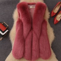 Clobee 2018 Winter Women's Faux Fur Coat Artificial Fur Vest Furry Vests Femme Jackets Plus Size Warm Fake Fur Gilet Z127