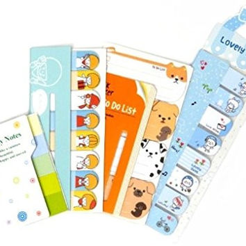 Post-it Bookmark Marker Memo Flags Index Tab Sticky Notes Value Pack (Blue/ Puppies and People)