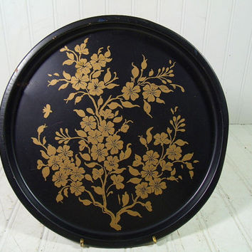 Vintage Floral Bouquet Hand Painted in Gold Over Black Enamel Metal Tray - Retro Round Tin Plate - Mid Century Entertaining Beverage Server