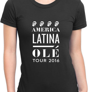 The Rolling Stones America Latina Ole Tour Womens T Shirt
