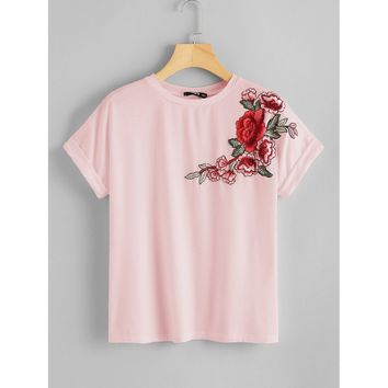 Rose Embroidered Applique T-shirt