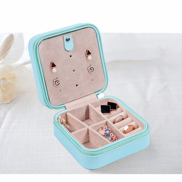 Faux Leather Blue Jewelry Storage Travel Case Box