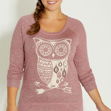 plus size ultra soft pullover with owl graphic