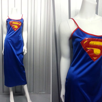 90s Superman Maxi Dress Supergirl Grunge Rave Wear Club Kid Spaghetti Straps DC Comic Dress Bodycon Sea Punk Stretch Dress Slip Dress