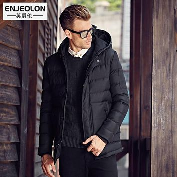 Cotton Padded Hooded long Jacket Men windproof Parka Men black Clothing Thick Quilted casual Coat Men