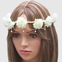 Festival Boho Floral & Pearl Head Chain Flower Crown Headband - White