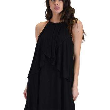 SL4246 Black Sleeveless Shift Dress With Dropped Ruffles