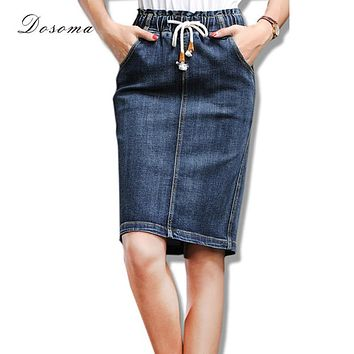 vintage denim skirt girls 2016 korean style simple stretchy denim skirt autumn midi skirt jeans slim wrap hip office skirt women