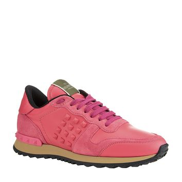 Valentino - Rockstud Suede and Leather Sneaker at Harrods